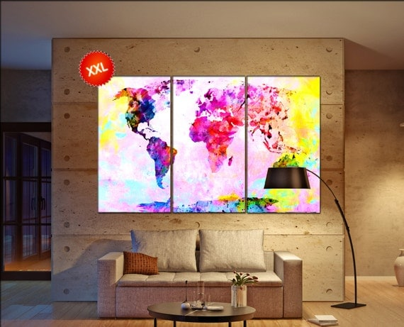 large canvas wall art world map  print on canvas wall art Pink world map artwork large world map Print home office decoration