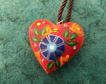 "Alebrije Heart Shaped Pendant - approx 2"" diameter x 3/4"" deep. By Zeny and Reyna Fuentes."