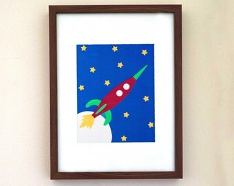 Kid's Room Decor, Spaceship, Space, Wall Art, Boy's Room, Boy Decor