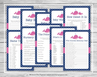 Whale Baby Shower Games - 10 Printable Baby Shower Games - Pink Whale Baby Shower - Baby Shower Games Package - Whale Shower Games - SP128