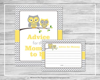 Owl Baby Shower Advice for Mom Cards - Printable Baby Shower Advice Cards - Yellow Owl Baby Shower - Owl Shower - Advice for Mom - SP133