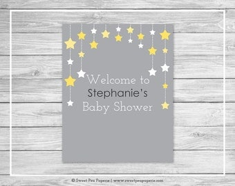 Twinkle Little Star Baby Shower Welcome Sign - Printable Baby Shower Welcome Sign - Twinkle Little Star Shower - Welcome - EDITABLE - SP117