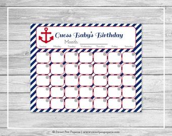 Nautical Baby Shower Guess Baby's Birthday - Printable Baby Shower Guess Baby's Birthday - Navy Red Baby Shower - Birthday Calendar - SP118