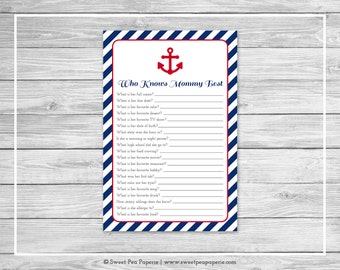 Nautical Baby Shower Who Knows Mommy Best Game - Printable Baby Shower Who Knows Mommy Best Game - Navy Red Baby Shower - SP118
