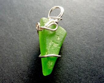 Genuine Sea Glass Pendant Sterling Silver Wrapped Sea Glass Pendant