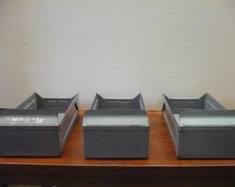 3 Metal File Boxes