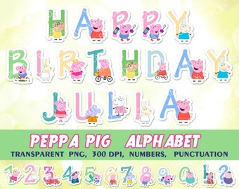Peppa Pig Alphabet, clipart, birthday decorations, digital alphabet, kids birthday, party printables, printable abc, scrapbook, paper, PNG