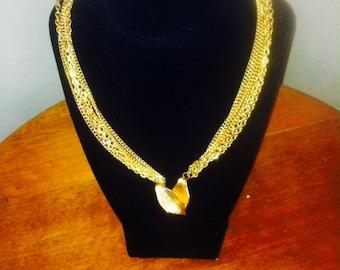 Classy Vintage 6 Strand Gold Tone Necklace