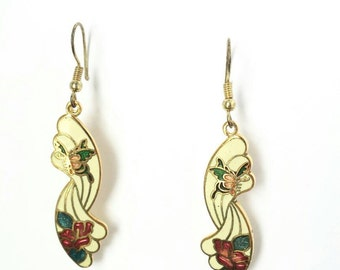 Butterfly earrings, vintage rose earrings, vintage Butterfly earrings, vintage earrings