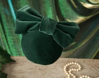 Fascinator Green Velvet Headpiece Hat 1950s - Lulu