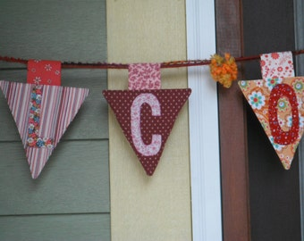 "Hanging ""Welcome"" Pennant banner"