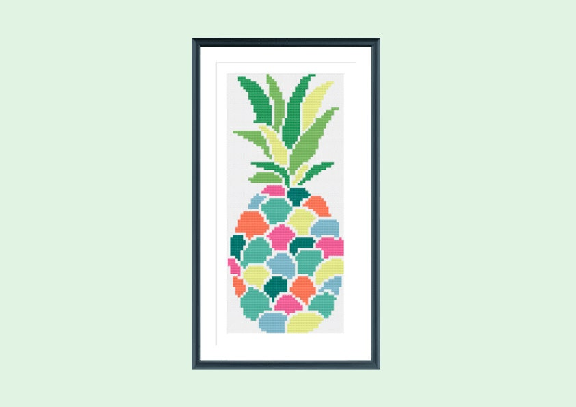 Cross stitch pattern modern pineapple