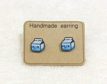 MIKE STUD EARRINGS with Resin,Earrings Handmade,Cute Milk Stud Earrings,Pink and Blue Earrings,Resin Jewelry,Resin Earrings - Cute Earrings
