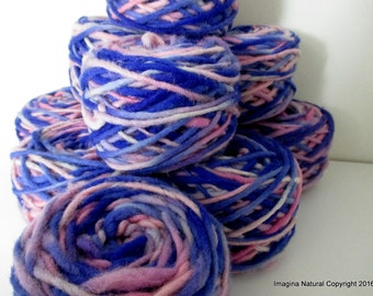 Limited Edition Handspun Hand dyed yarn Bulky Chilean Wool Knitting Multicolour Araucania Chunky Skein Purple Light Blue Pink 100g 3.5oz