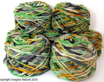 Limited Edition Handspun Hand dyed yarn Bulky Chilean Wool Knitting Multicolour Araucania Chunky Skein Green Yellow White Black 100g 3.5oz