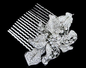Crystal Bridal Hair Comb,Wedding Hair Jewelry,Bridal Accessories, Floral Hair Comb, Wedding Comb