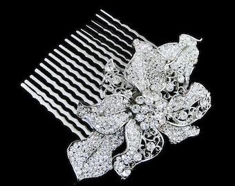 Crystal Bridal Hair Comb,Wedding Hair Jewelry,Bridal Accessories,Floral Hair Comb,Wedding Comb
