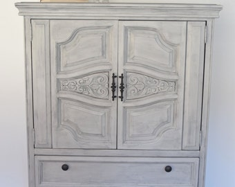 Tall Dresser, Paris Grey Annie Sloan, Chalk Pain, Distressed.