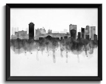 Winnipeg Skyline Manitoba Canada Cityscape Art Print Poster Black White Grey Watercolor Painting