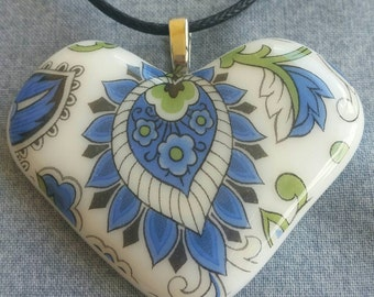 Blue Paisley Fused Glass Heart 2