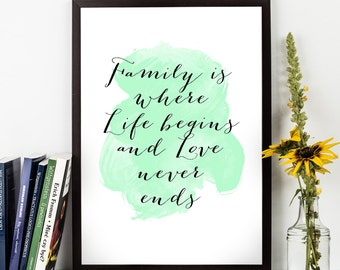 Family is where Love Begins ... ,  Watercolor Family gift, Uplifting quote,  Inspirational quote, Motivational print, Inspiring quote