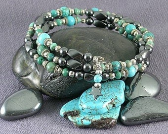 Earth and Sky Memory Wire Bracelet -  Turquoise and Hemitite - Native