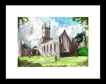 Ennis Friary Church A4 (29.7 x 21 cm) Print of Original Watercolor