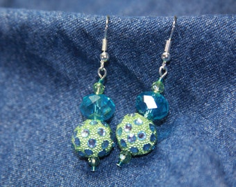 Turquoise Blue Green Crystal Glass Beaded Earrings