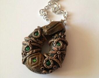 Little tribal jade stone beads pendant