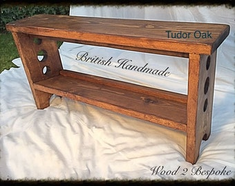 Bench with Tilted Shoe Rack - Hand Made - Rustic Pine Wood