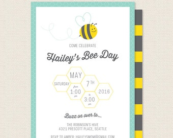 Happy Bee Day Invitation  - Bumble Bee Birthday Party Invite - Printable Kids Birthday Invitation - Sophisticute Paperie