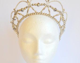 Silver platinum rhinestone handmade crystal headband tiara, bridal tiara, dancer tiara, prom queen tiara, wedding tiara, hens tiara