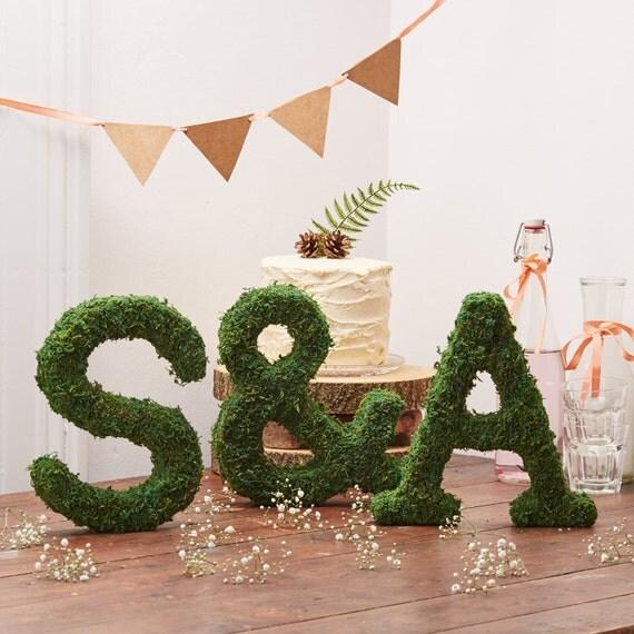 Cake Decorations Letters Uk : Moss Letters Woodland Wedding Decoration Rustic Wedding