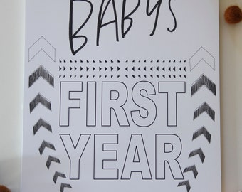 Baby's First Year Calendar- WHITE