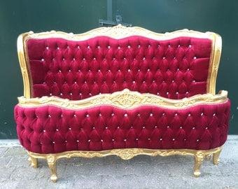 Bed Frame Gold Frame Tufted Bed Frame Full Size Bed Gold Leaf Tufted Red velvet Fabric Rococo Bed Frame Baroque Bed Full Carved