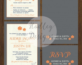 Fall Wedding Invitation, Grey wedding invitation, Rustic wedding invitation, Country wedding invitation, Western wedding invitation