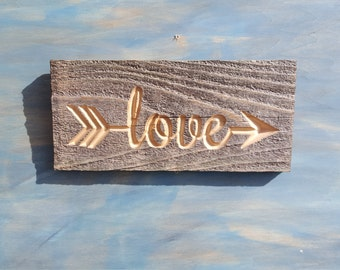 Carved Rustic Arrow Love Sign, Reclaimed Rustic Love Sign