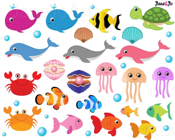 50%OFFSALE Sea Animal Clipart,Sea Animals Clipart,Sea Creatures ...