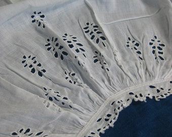 Pair Antique Victorian Engageantes Sleeves Circa 1860- Hand Embroidered Broderie Anglaise