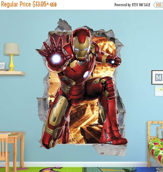On Sale Iron Man 3d Wall Sticker Smashed Bedroom Kids Decor