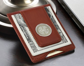 Personalized Money Clip Wallet - Brown Leather