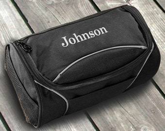 Personalized Mens Toiletry Bag - Clever Canvas Travel Case Kit