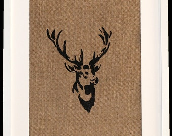 Framed side facing stag picture