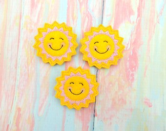 Sun feltie - Sunshine feltie - Sun felt bow - Sun embellishment - Sunshine felt - Felties - Sun bow center - Sunshine hair bow - Sun baby
