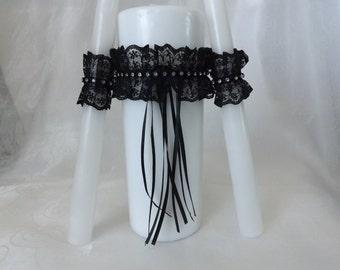 Black antique lace & rhinestone unity candle.