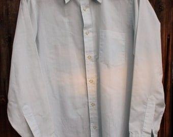 1970's John Whitcomb Baby Blue Mens Button Down Dress Shirt