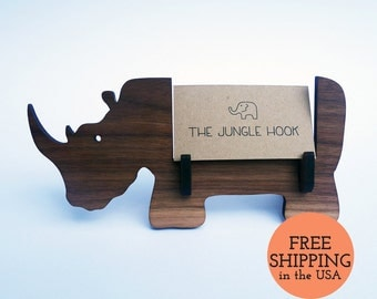Rhino wooden animal business card holder for desk - great handmade office gift, business card stand, desk accessories, rhino gift