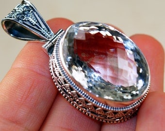 90cttw Vinatge Style White Topaz  & 925 Sterling Silver Pendant by Silver Trend, Victorian Style, handcrafted jewelry