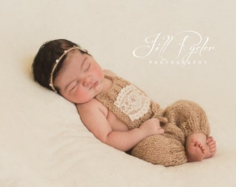 Mohair Knit bloomers and headband set / Newborn Photo prop / Baby girl photo outfit