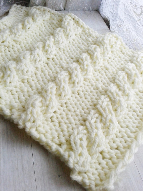 PDF Knitting Pattern Cable Mini Blanket Instant Download/